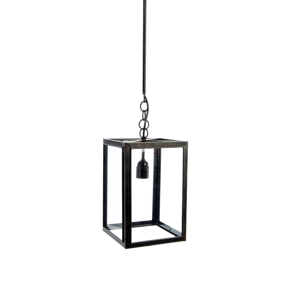 Pendente Lanterna Quadrada Preto em Metal - 140x25 cm
