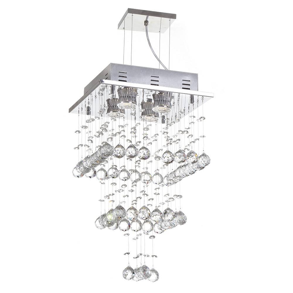 Pendente Lille - 4 Lâmpadas GU10 - em Aço Inox e Cristal Importado - 119x28 cm