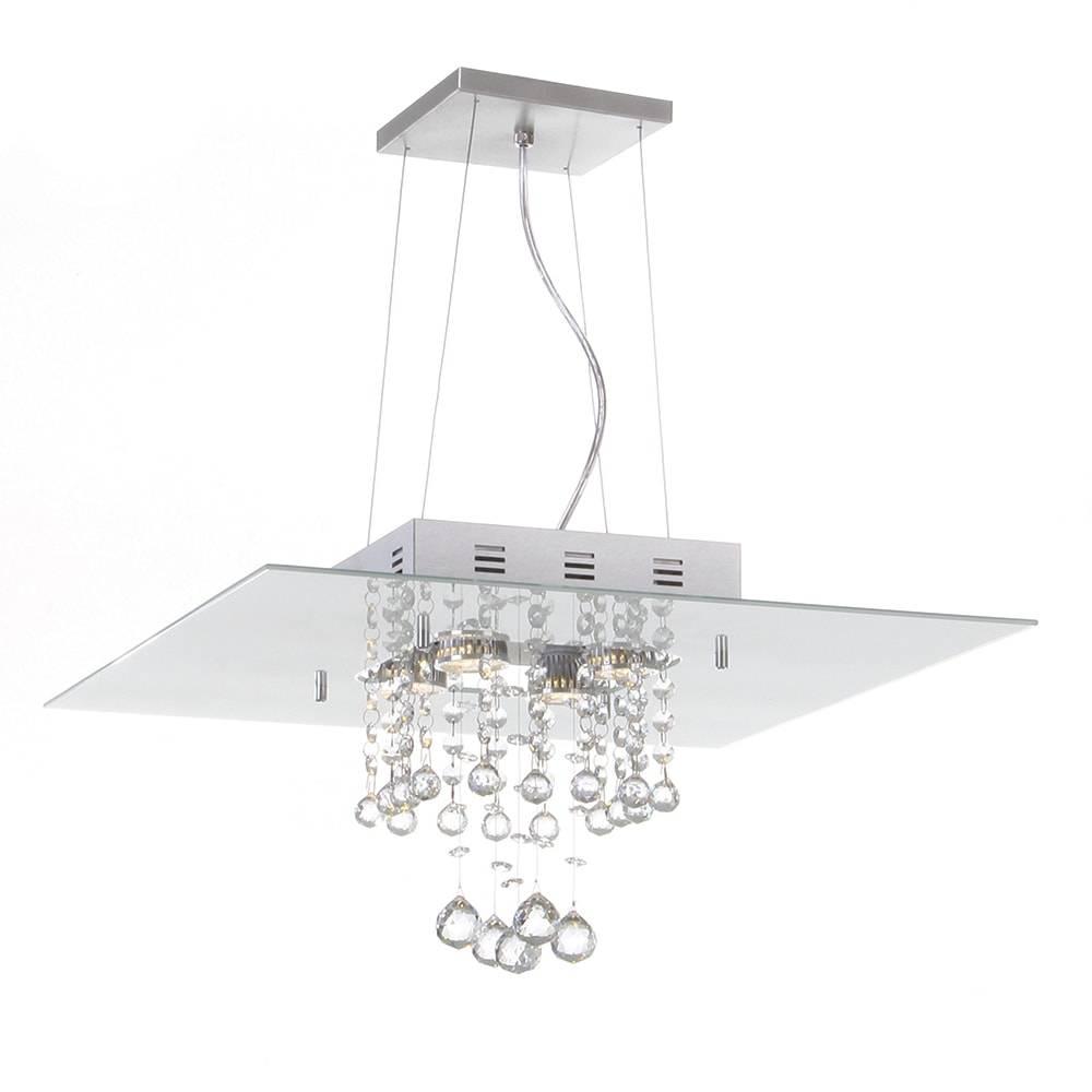 Pendente Malaga Branco - 4 Lâmpadas G9 - em Alumínio e Cristal Importado - 95x40 cm