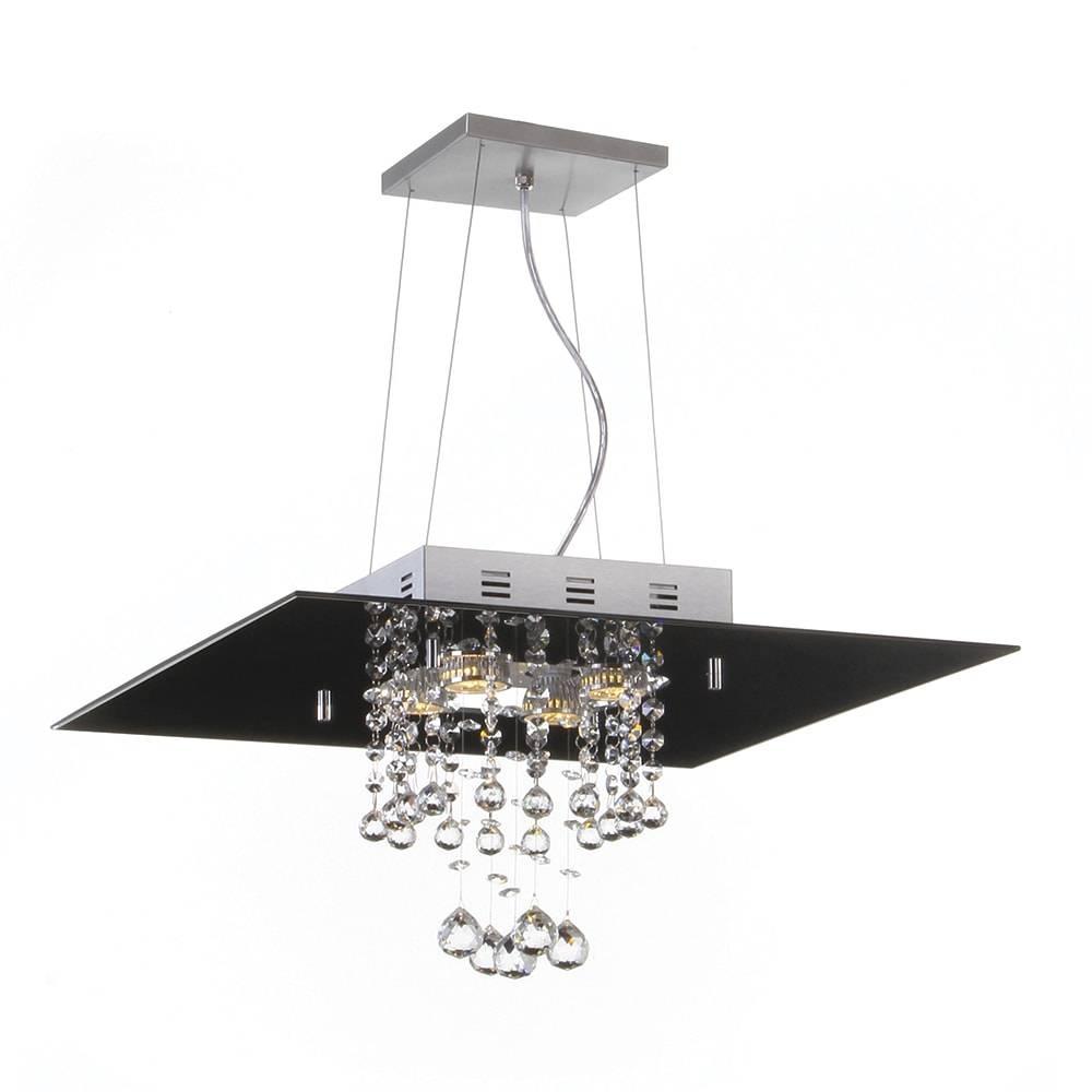 Pendente Malaga Preto - 4 Lâmpadas E27 - em Alumínio e Cristais - 95x40 cm