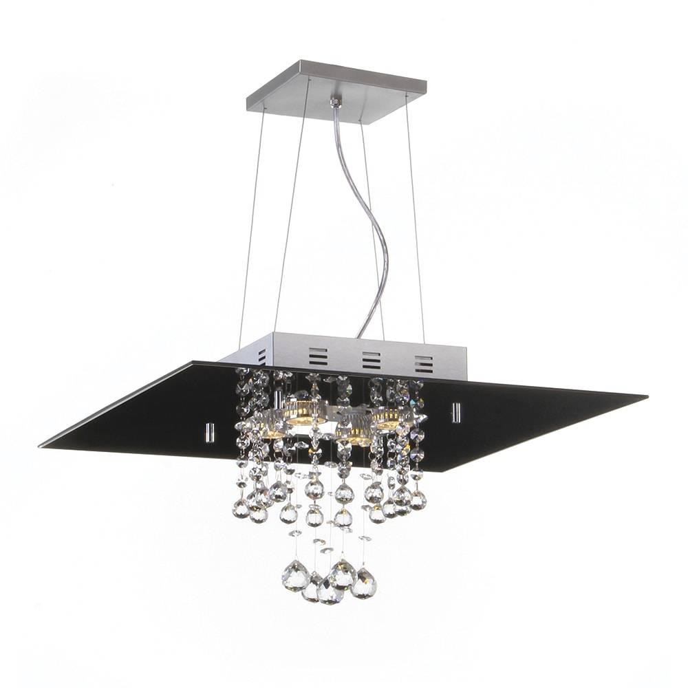 Pendente Malaga Preto - 4 Lâmpadas G9 - em Alumínio e Cristal Importado - 95x40 cm