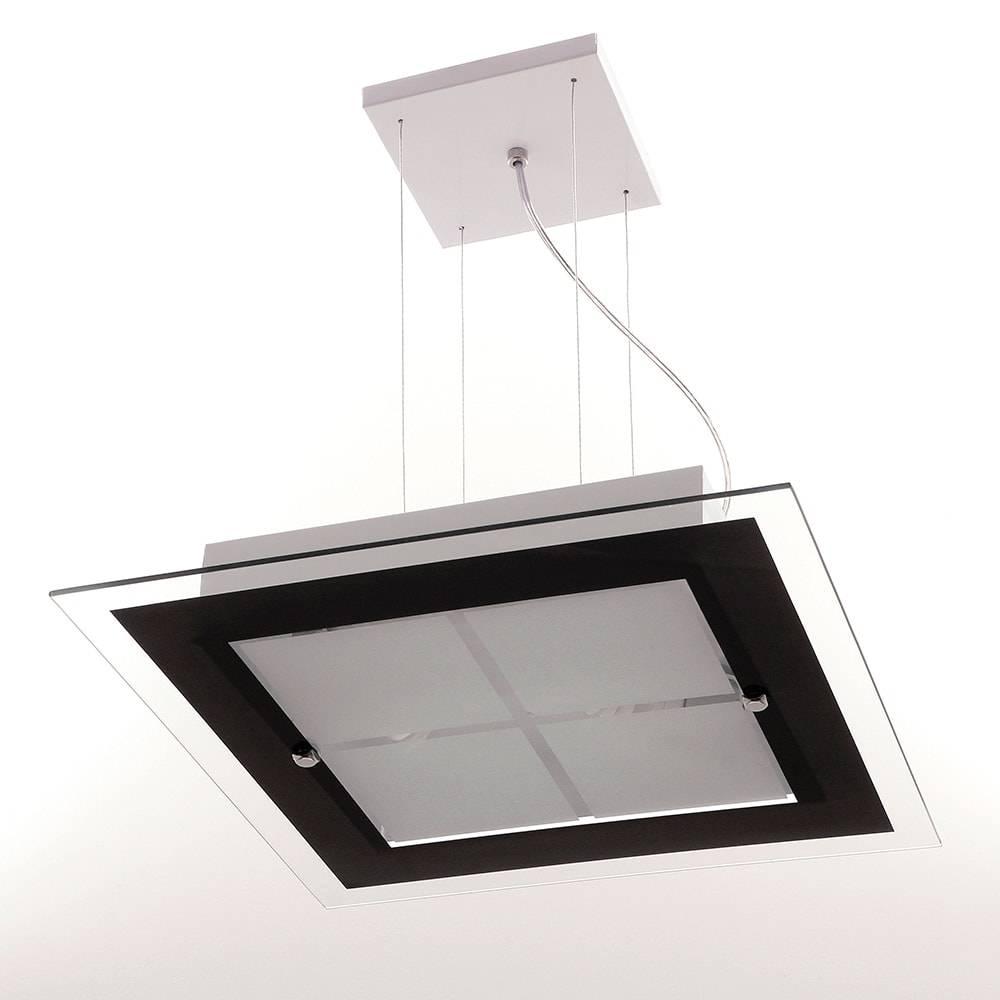Pendente Moderna Preto em Vidro Temperado - 70x40 cm