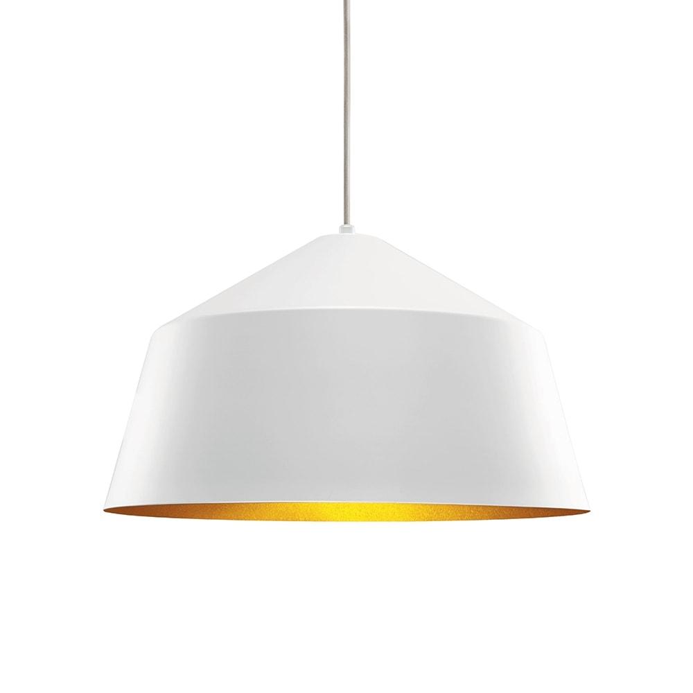 Pendente Mônaco Branco c/ Interior Dourado em Metal - 41,5x26,5 cm