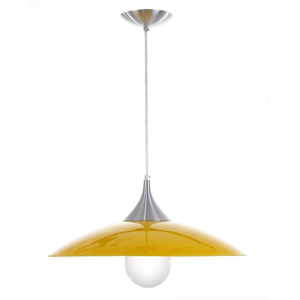 Pendente Nice Amarelo em Alumínio Escovado e Vidro - 90x49 cm