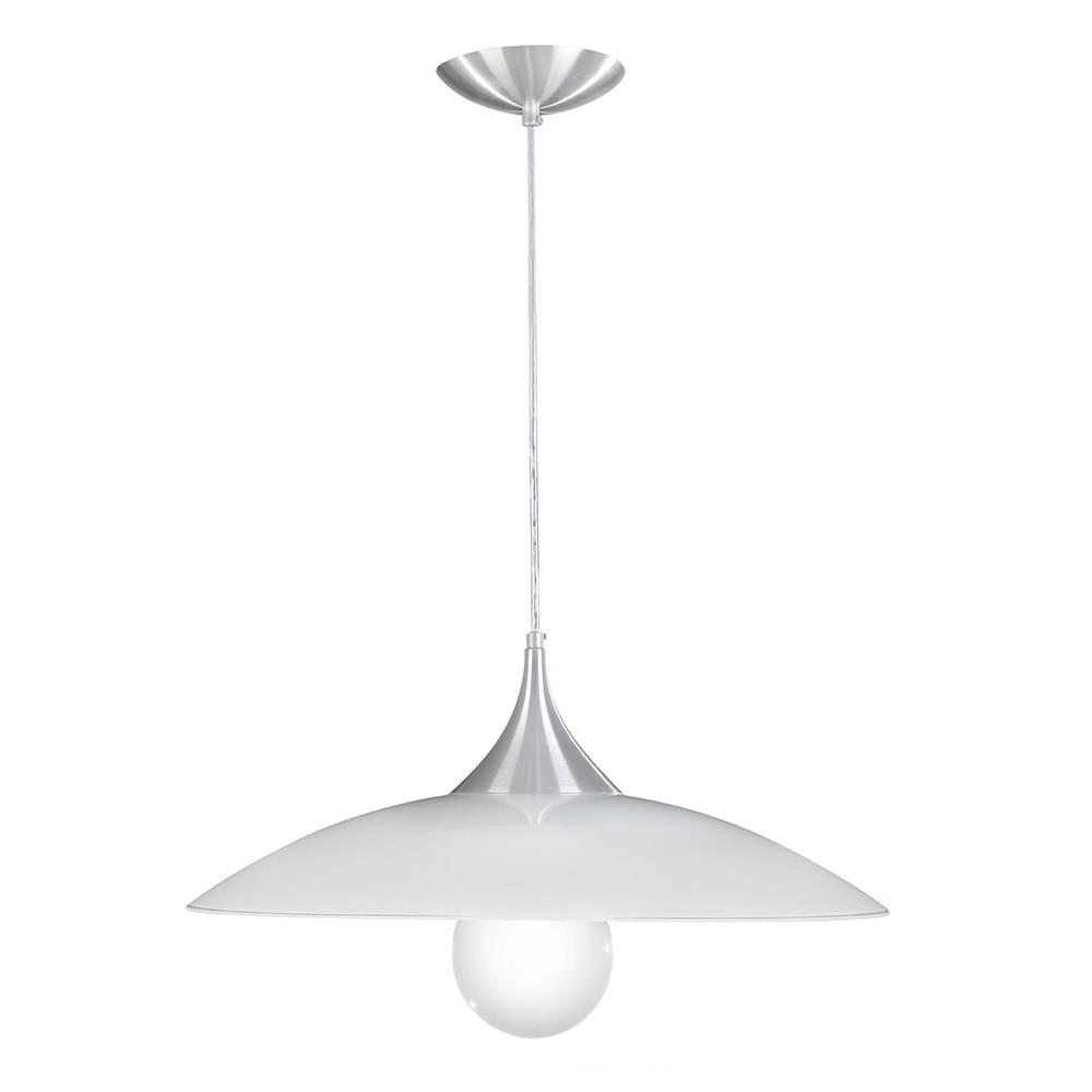Pendente Nice Branco em Alumínio Escovado e Vidro - 90x49 cm