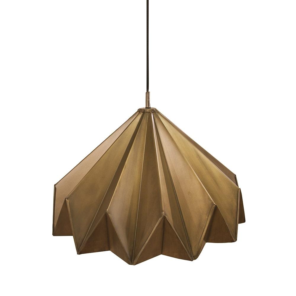 Pendente Origami Dourado Grande em Ferro - 54x28 cm