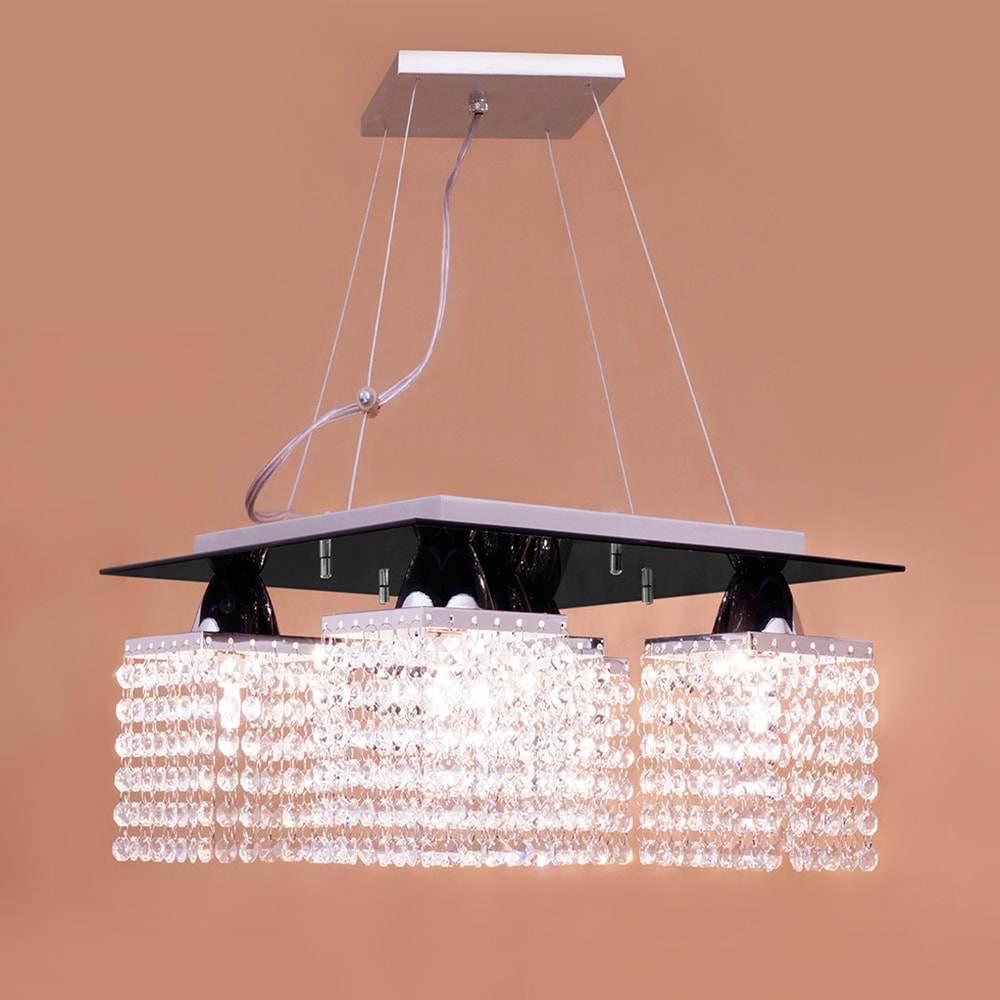 Pendente Pamplona Preto - 5 Lâmpadas - em Aço Inox Polido e Cristais - 90x38 cm