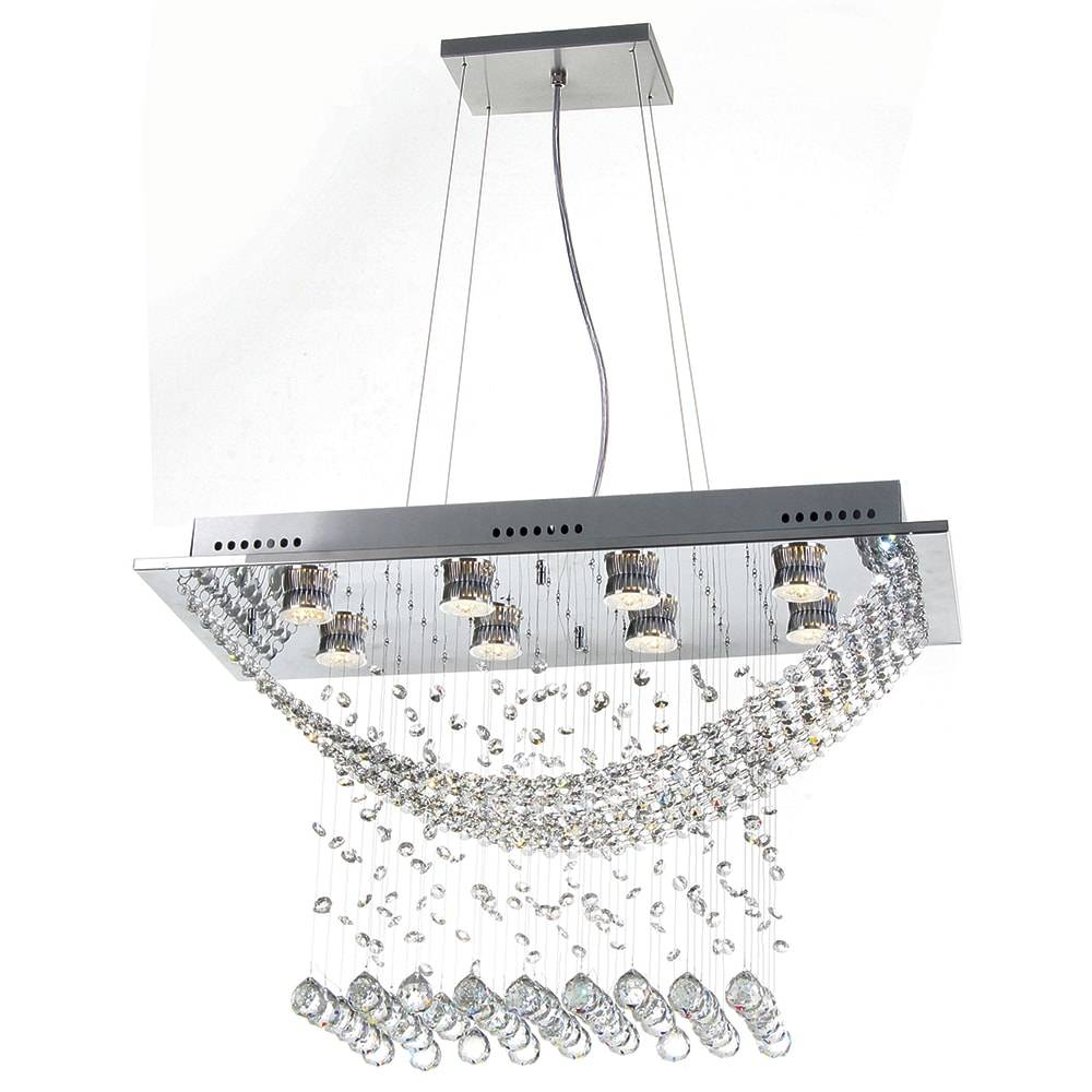 Pendente Paris - 8 Lâmpadas GU10 - em Aço Inox Polido e Cristais Importados - 110x70 cm