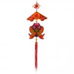 Pendente Peixe Duplo Vermelho Grande em Tecido - 77x21 cm