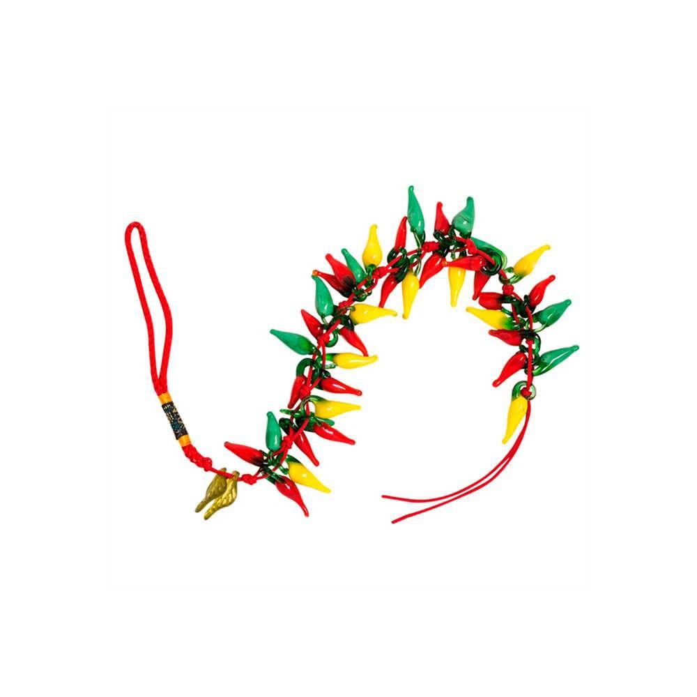 Pendente Pimentas Coloridas Pequeno em Vidro - 25x6 cm