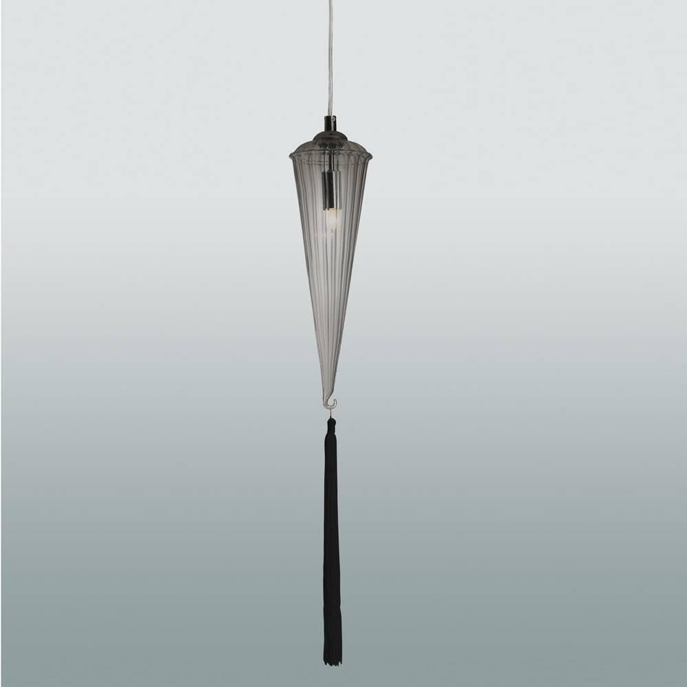 Pendente Primor Fumê - Bivolt - em Vidro e Metal - 70x10 cm
