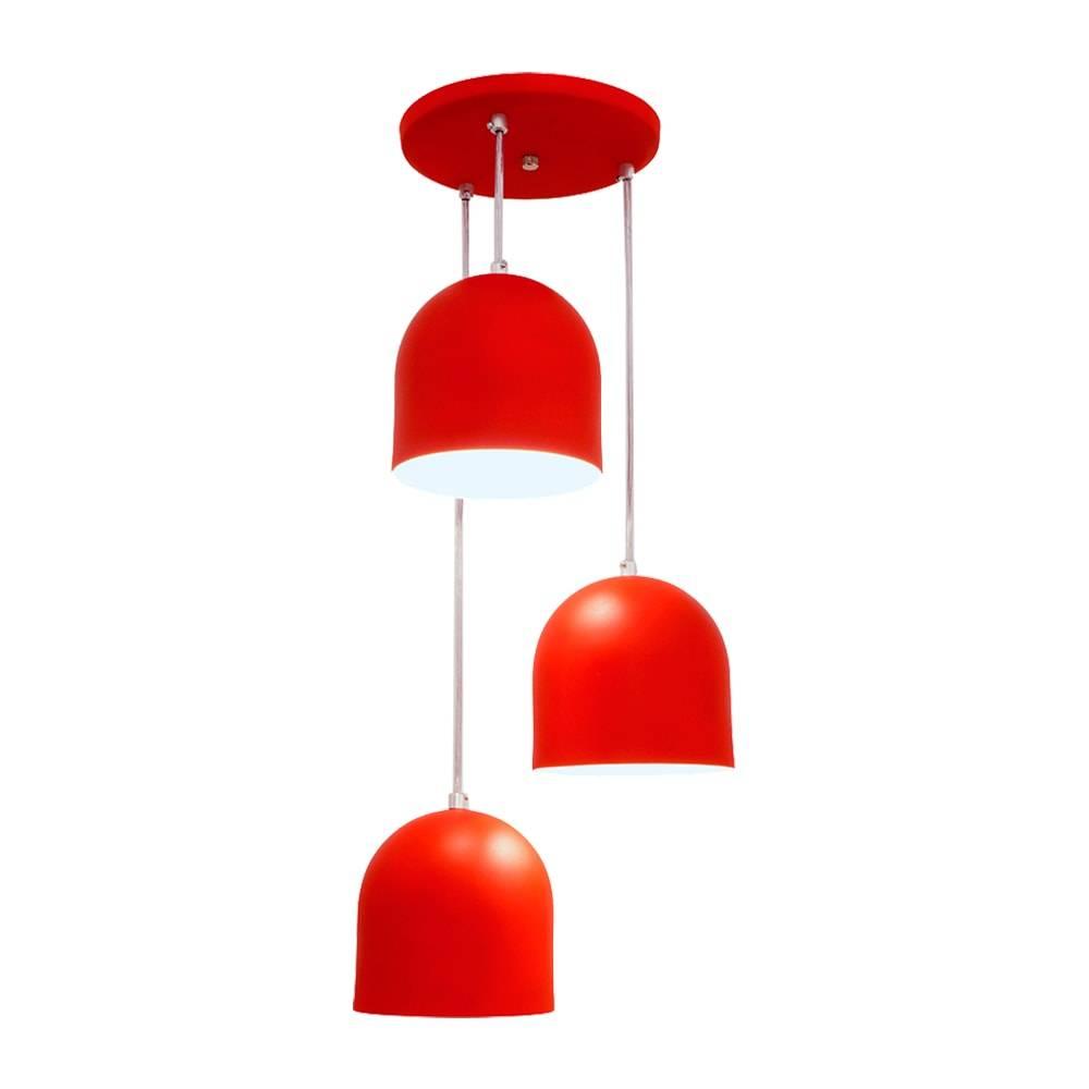 Pendente Sevilha Triplo Vermelho em Alumínio - com Haste Regulável - 80x25 cm