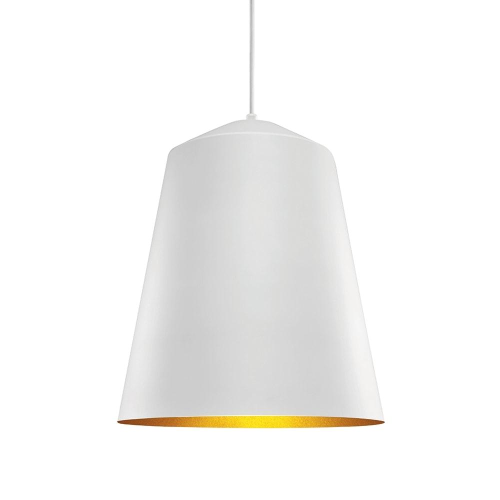 Pendente Sino Branco c/ Interior Dourado em Metal - 42x36 cm