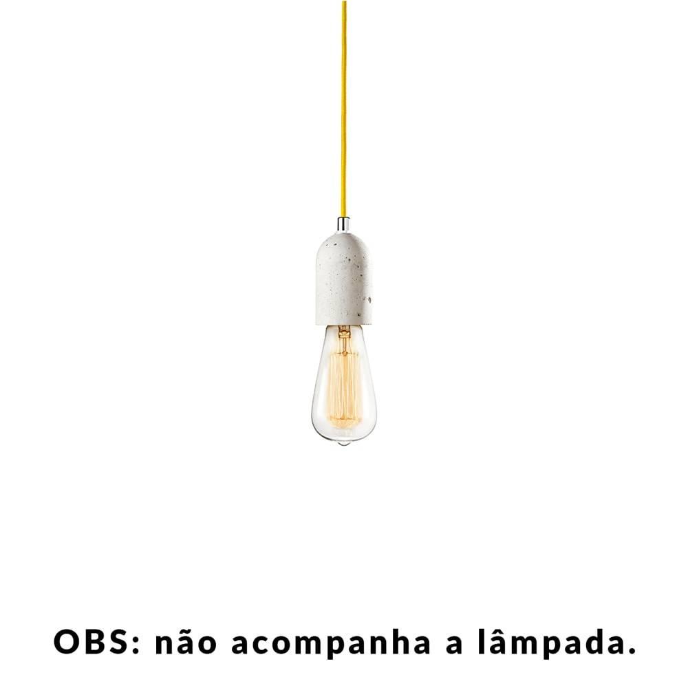 Pendente Small Lamp com Cabo Amarelo e Soquete em Cimento - 10x5 cm