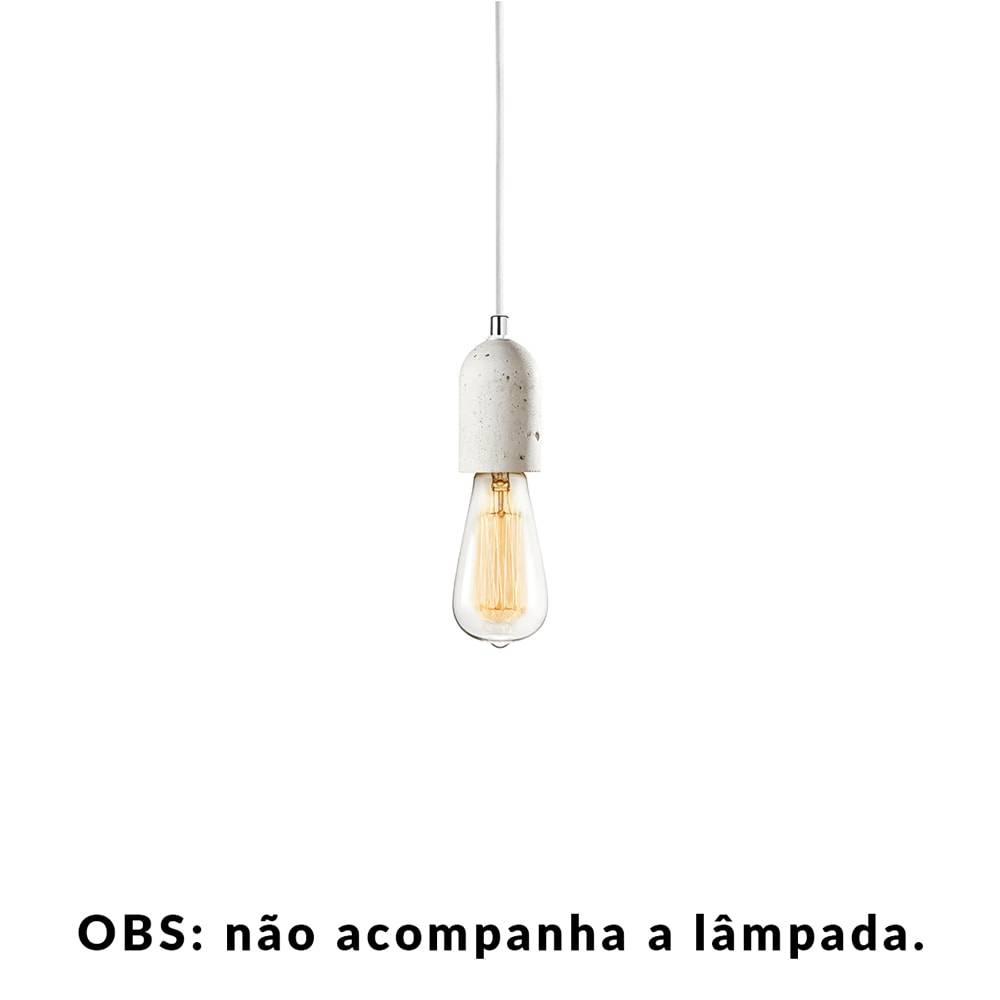 Pendente Small Lamp com Cabo Branco e Soquete em Cimento - 10x5 cm