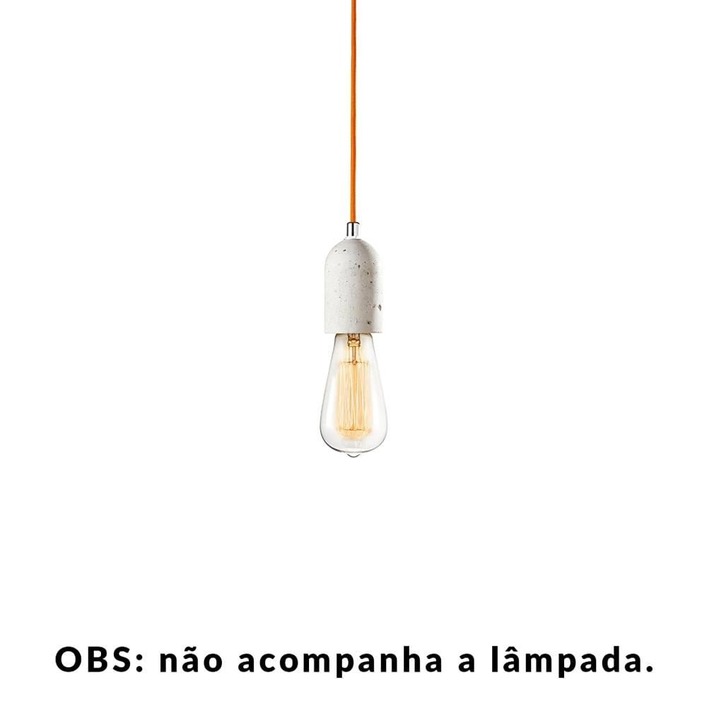 Pendente Small Lamp com Cabo Laranja e Soquete em Cimento - 10x5 cm