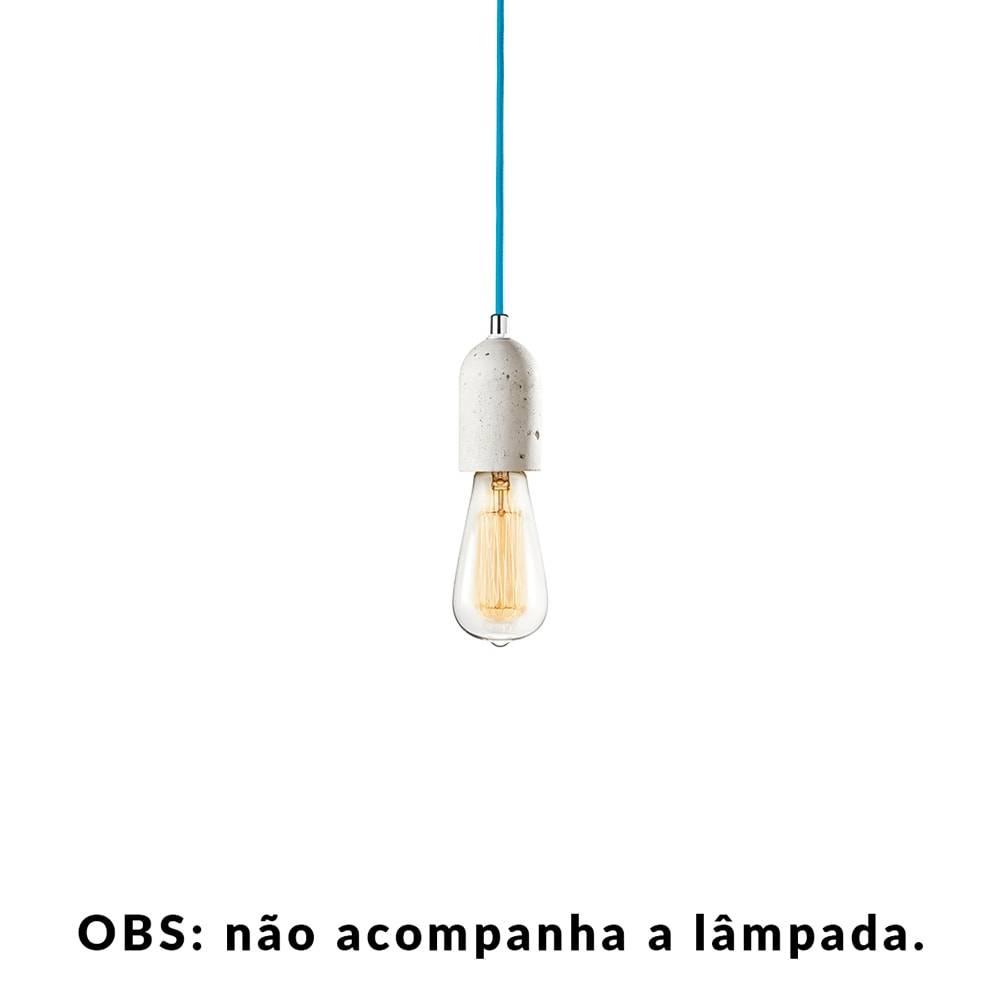 Pendente Small Lamp com Cabo Turquesa e Soquete em Cimento - 10x5 cm