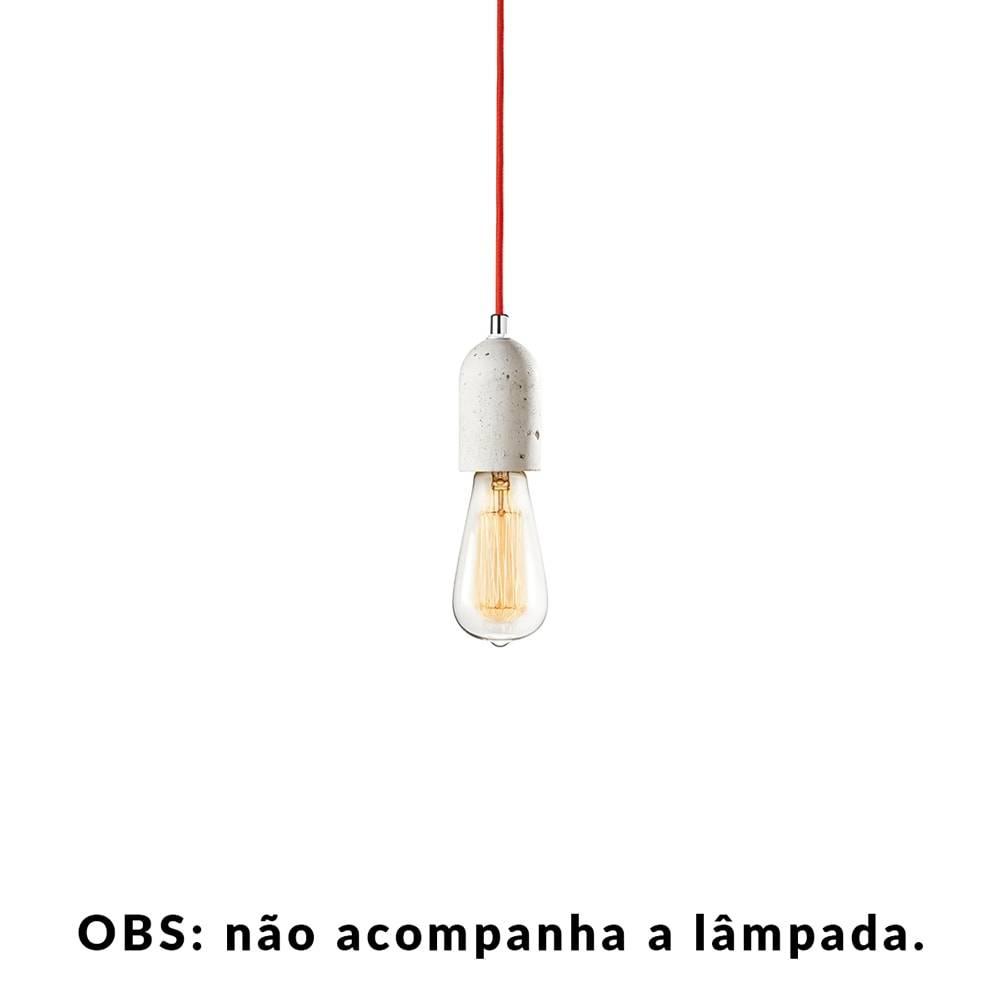 Pendente Small Lamp com Cabo Vermelho e Soquete em Cimento - 10x5 cm
