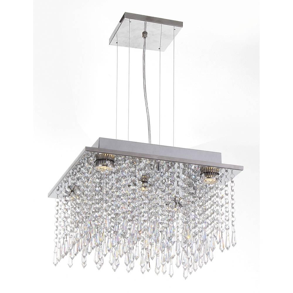 Pendente Sophie - Lâmpadas GU10 - em Aço Inox e Cristal Importado - 90x38 cm