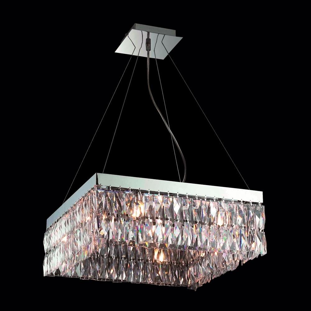Pendente Sparkles Translúcido - Bivolt - em Metal e Cristais - 60x16 cm