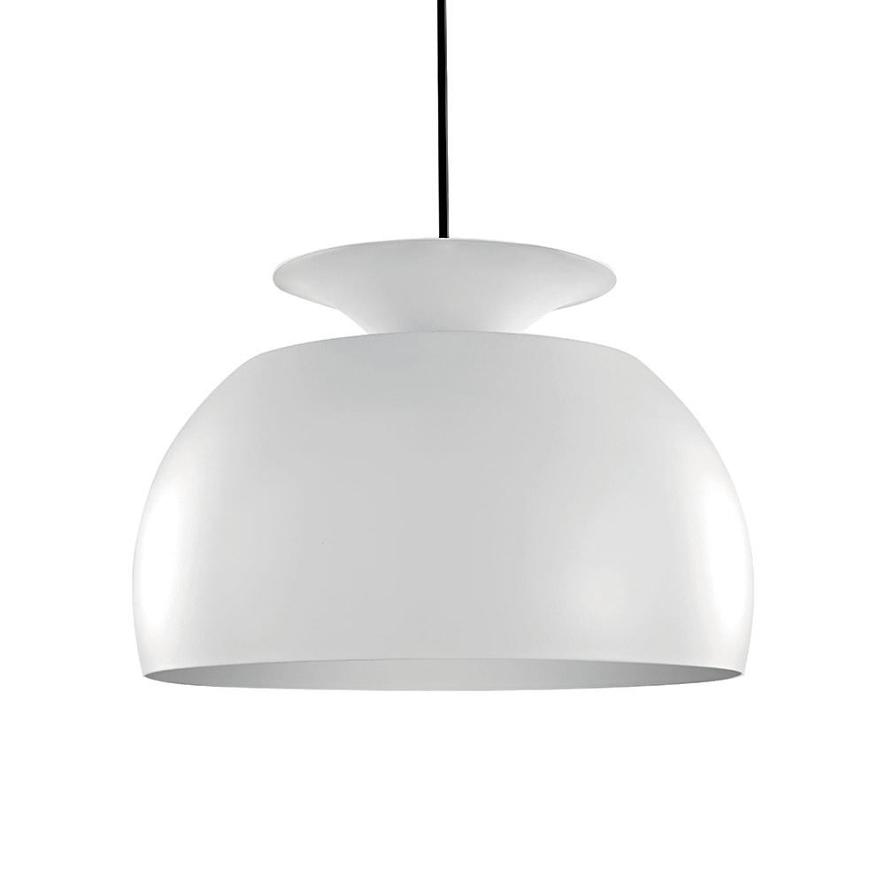 Pendente Taça Invertida Branco em Metal - 32x23 cm