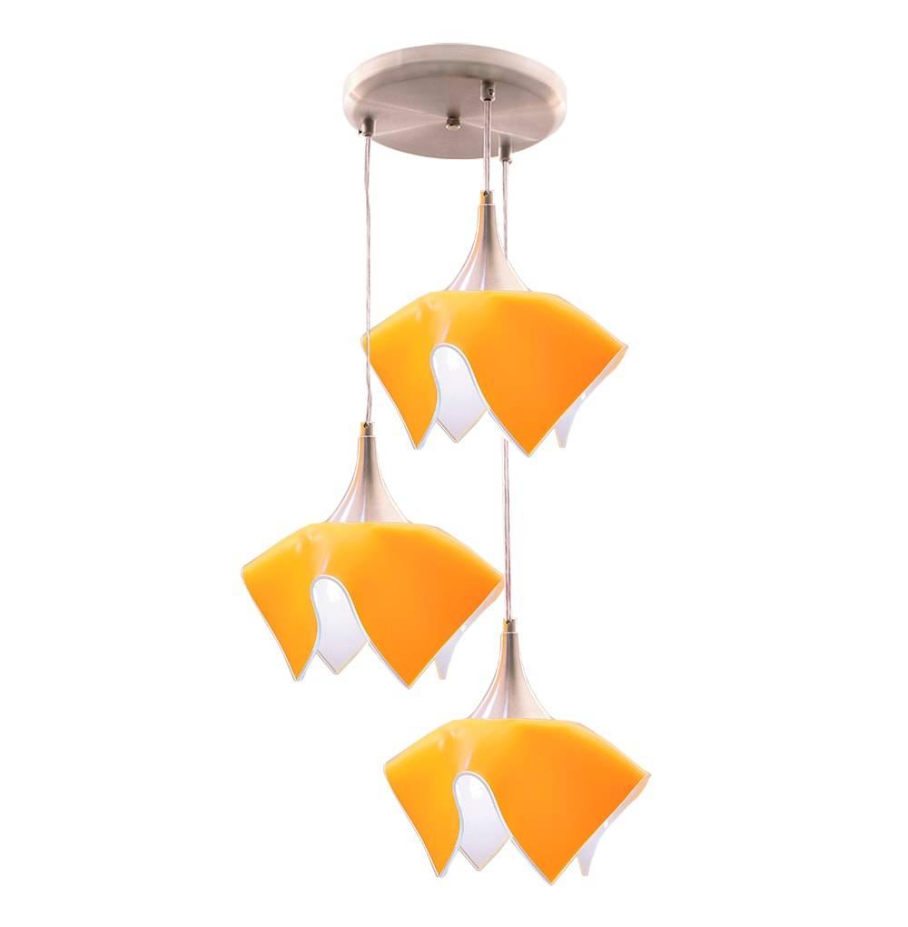 Pendente Triplo Color Amarelo em Alumínio e Vidro Temperado - 103x38 cm