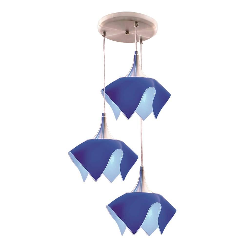 Pendente Triplo Color Azul em Alumínio Escovado e Vidro Temperado - 103x38 cm