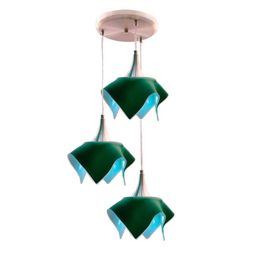 Pendente Triplo Color Verde em Alumínio Escovado e Vidro Temperado - 103x38 cm