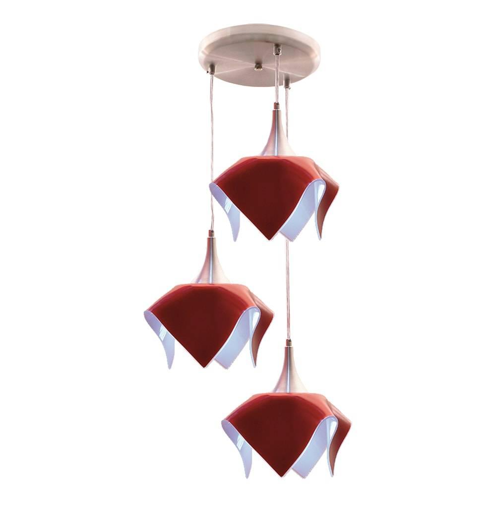 Pendente Triplo Color Vermelho em Alumínio e Vidro Temperado - 103x38 cm