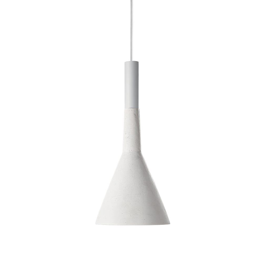 Pendente Trombeta Branco em Cimento - 34x15 cm