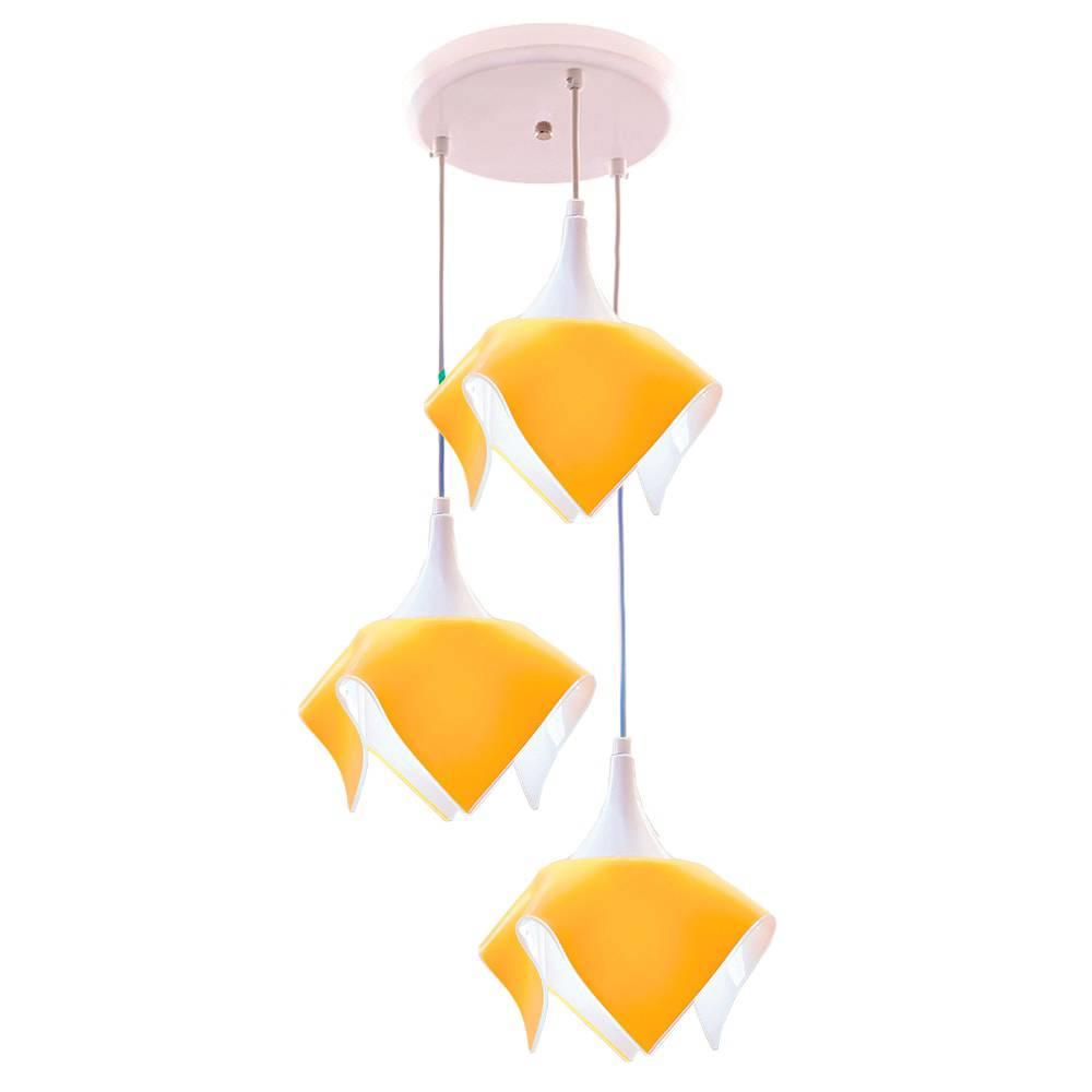 Pendente Tulipa Amarelo - para 3 Lâmpadas E27 - em Alumínio e Vidro - 103x38 cm