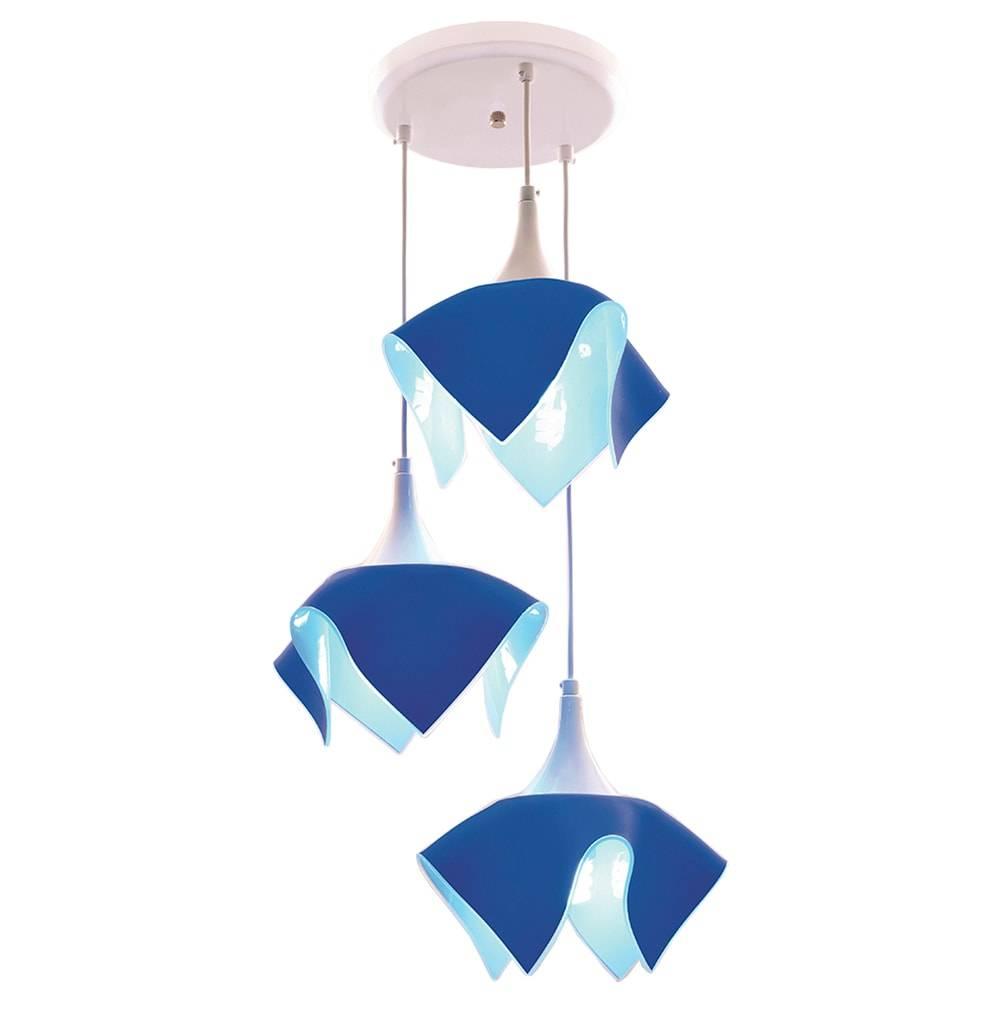 Pendente Tulipa Azul - p/ 3 Lâmpadas E27 - em Alumínio e Vidro - 103x38 cm