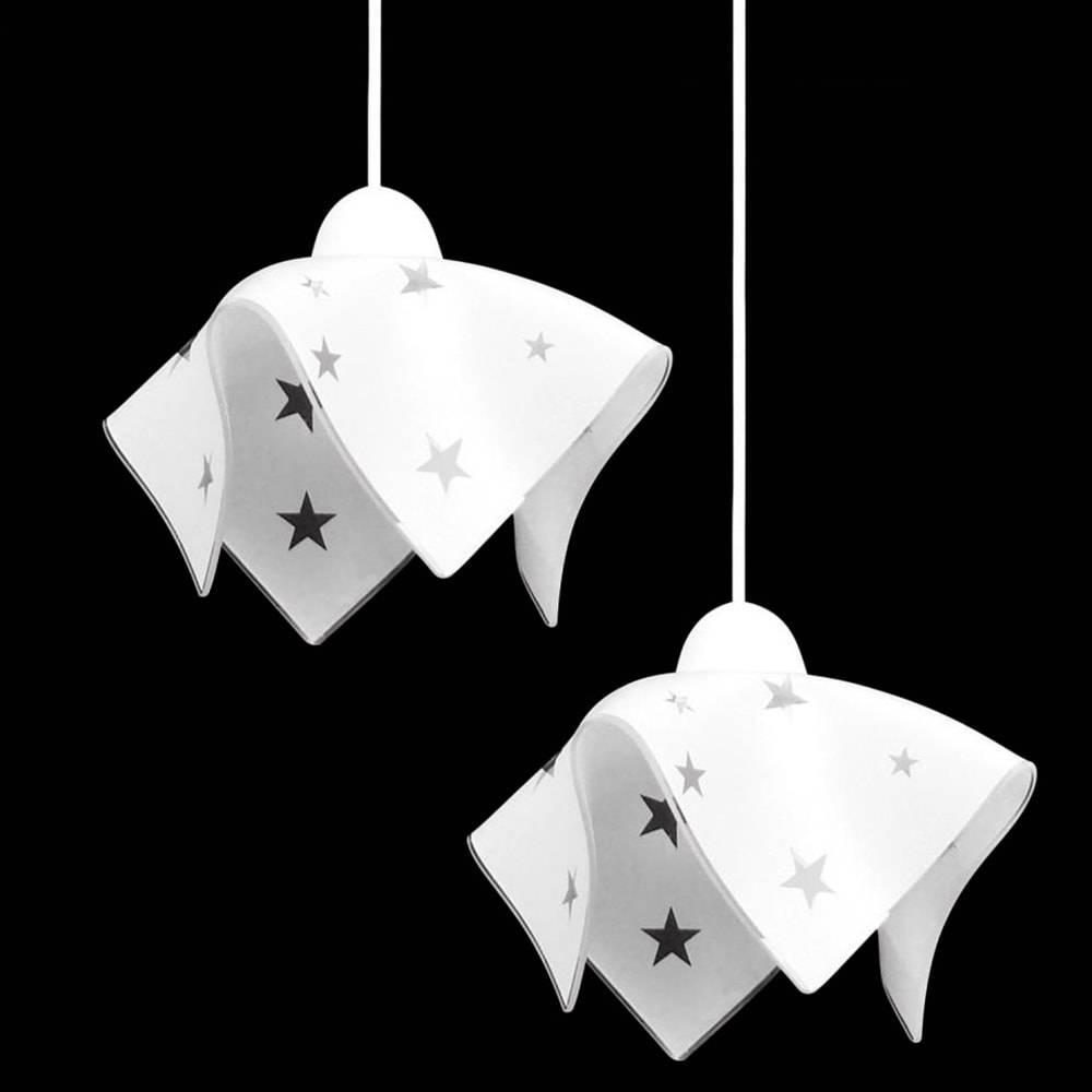 Pendente Tulipa Duplo Estrela Branco - com Haste Regulável - em Vidro - 80x20 cm