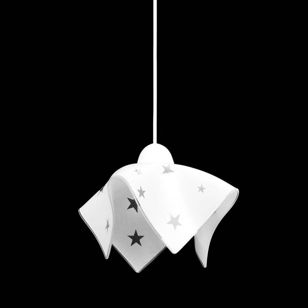 Pendente Tulipa Estrela Branca em Vidro - 80x20 cm