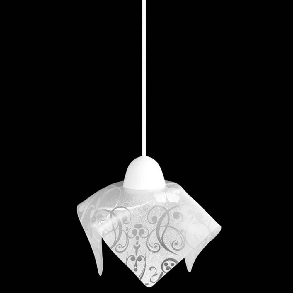 Pendente Tulipa Floral Branco - com Haste Regulável - em Vidro - 80x20 cm