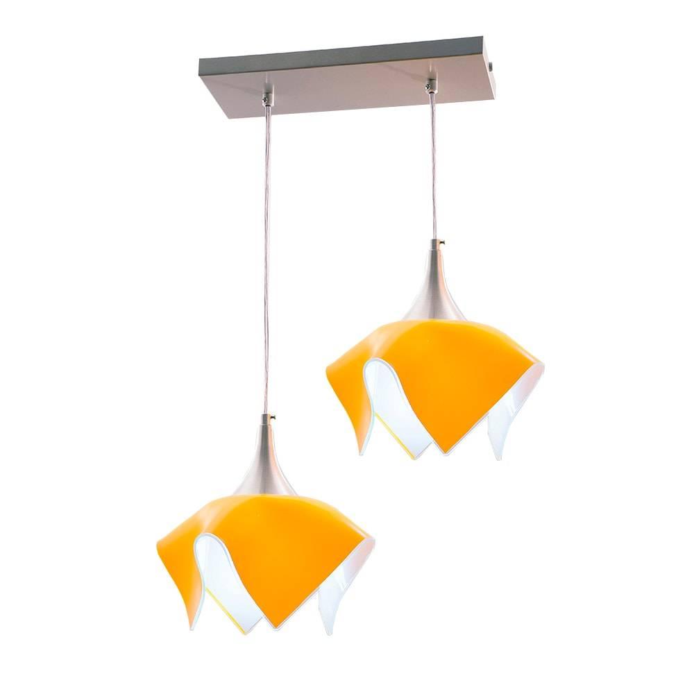 Pendente Tulipa Trilho Amarelo - p/ 2 Lâmpadas E27 - em Alumínio e Vidro - 103x44 cm