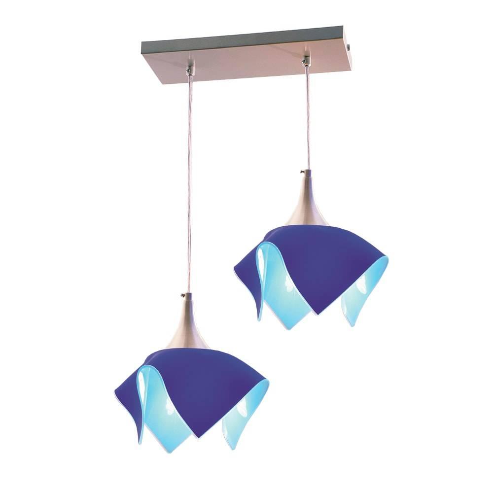 Pendente Tulipa Trilho Azul - para 2 Lâmpadas E27 - em Alumínio e Vidro - 103x44 cm