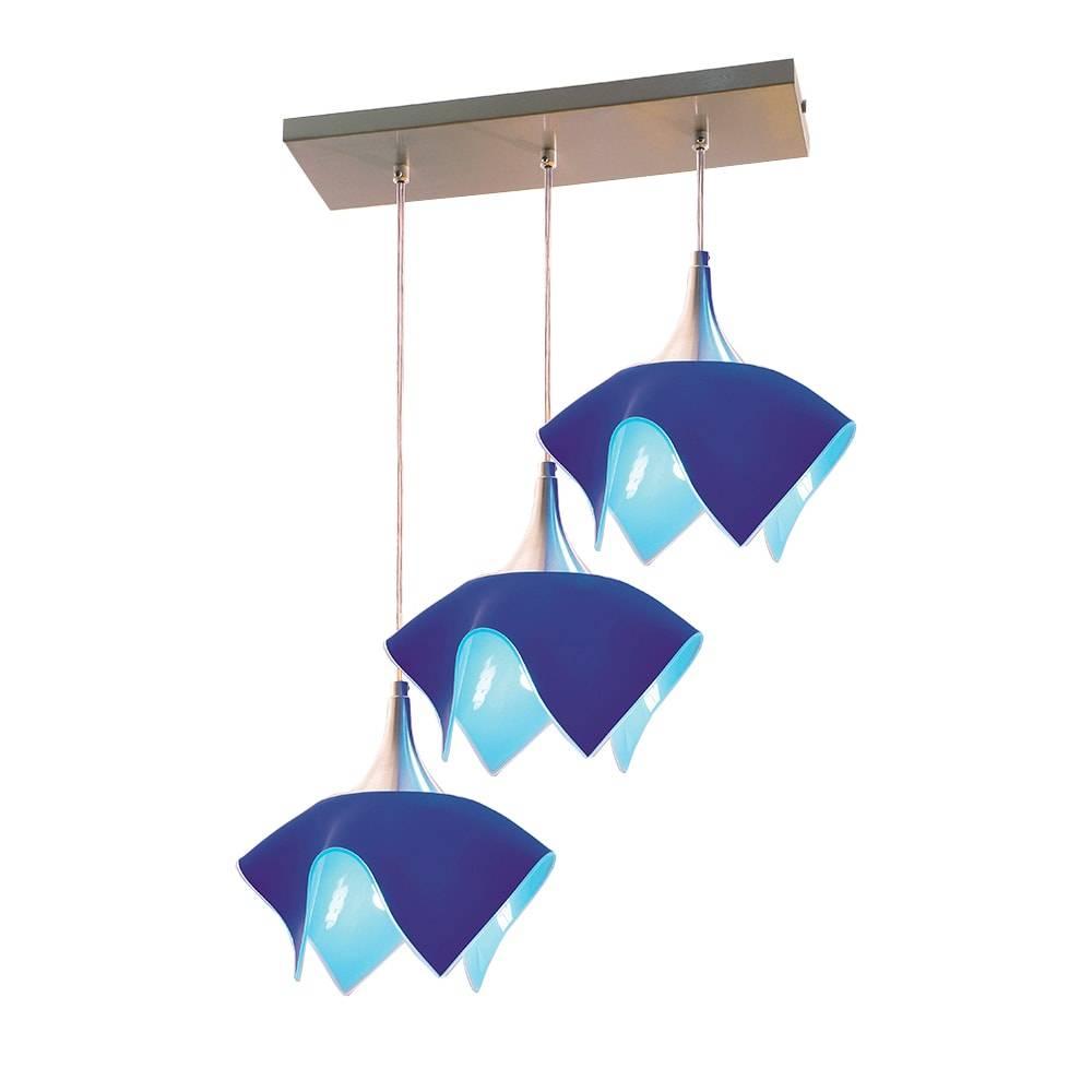 Pendente Tulipa Trilho Azul - p/ 3 Lâmpadas E27 - em Alumínio e Vidro - 103x53 cm