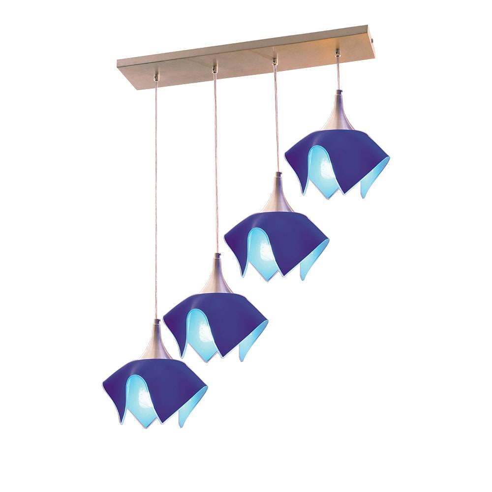 Pendente Tulipa Trilho Azul - p/ 4 Lâmpadas E27 - em Alumínio e Vidro - 103x71 cm