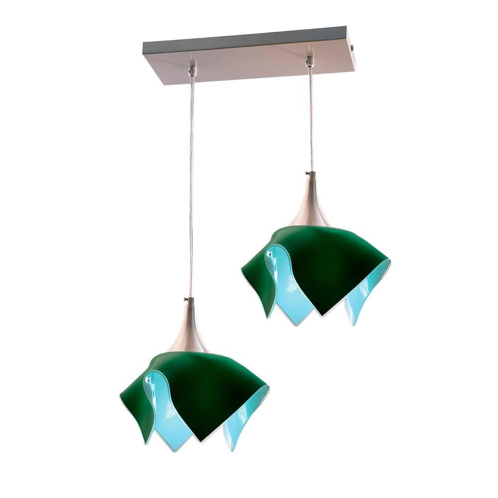 Pendente Tulipa Trilho Verde - p/ 2 Lâmpadas E27- em Alumínio e Vidro - 103x44 cm
