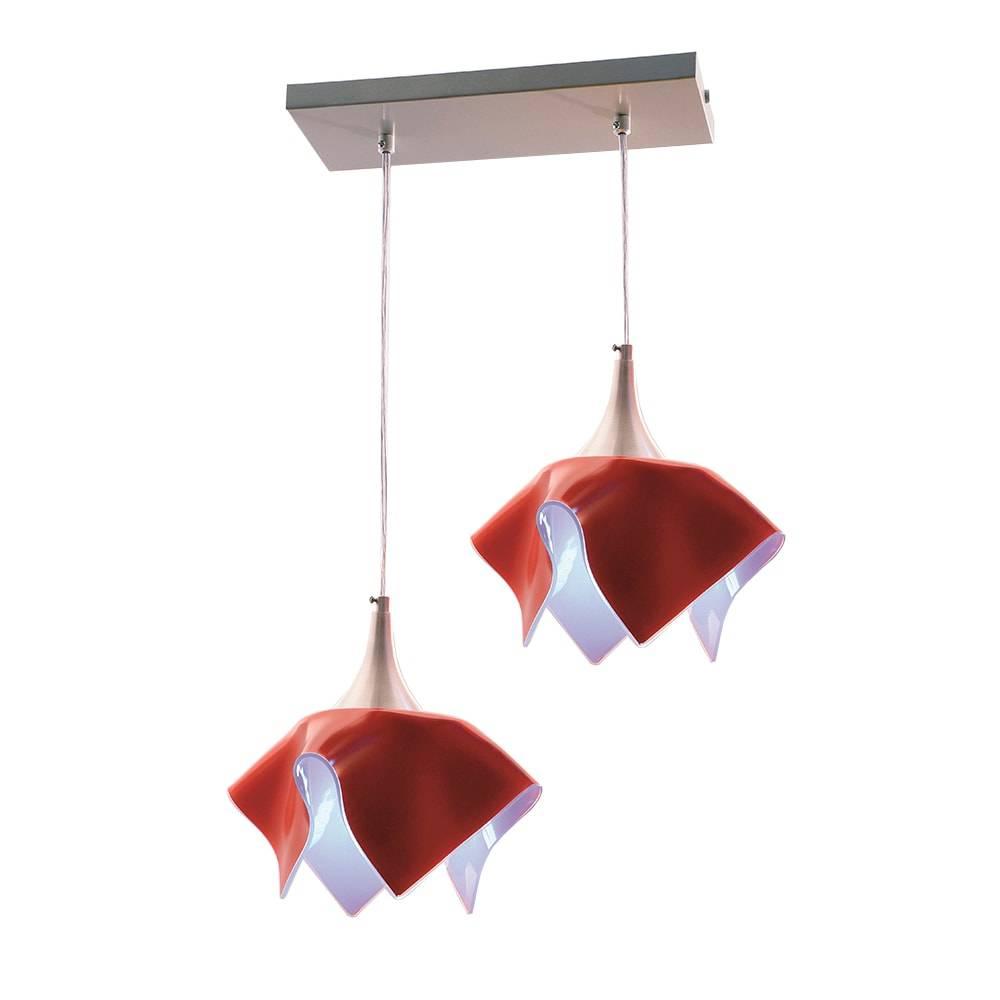 Pendente Tulipa Trilho Vermelho - p/ 2 Lâmpadas E27- em Alumínio e Vidro - 103x44 cm