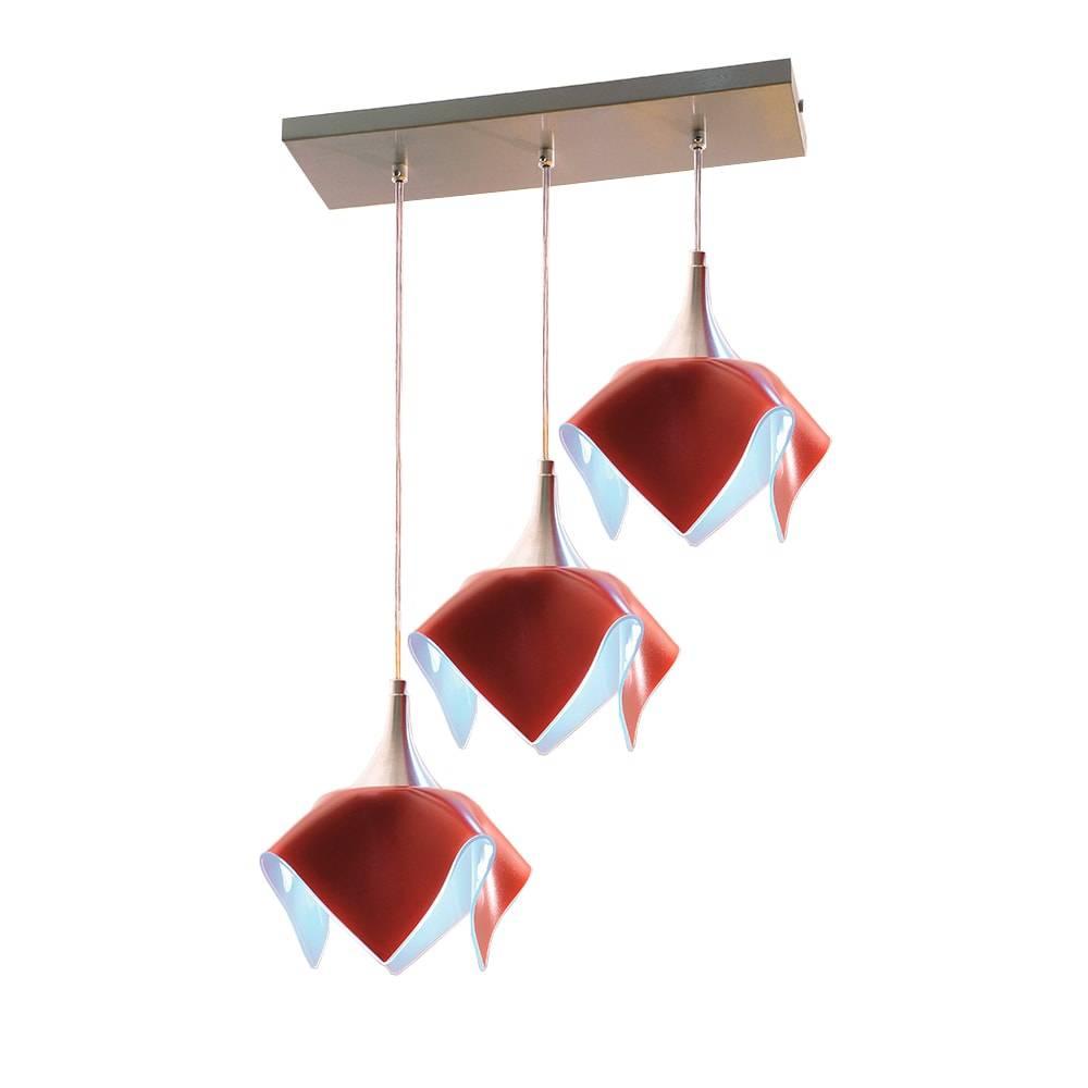 Pendente Tulipa Trilho Vermelho - p/ 3 Lâmpadas E27 - em Alumínio e Vidro - 103x53 cm