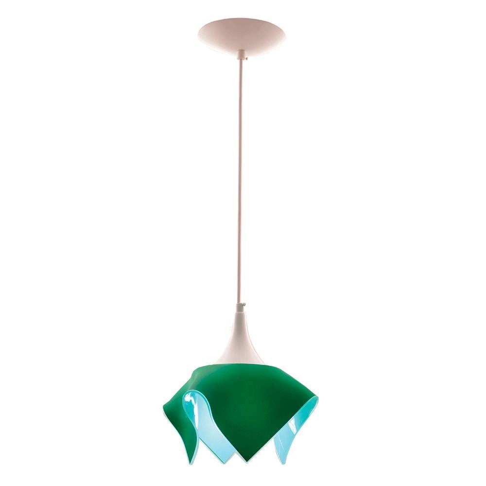 Pendente Tulipa Verde em Alumínio e Vidro - 88x20 cm