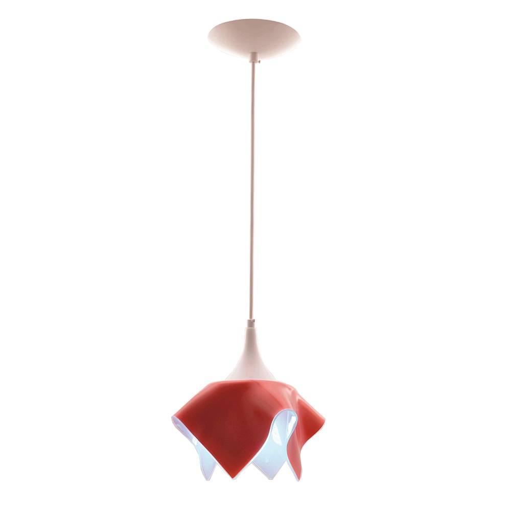 Pendente Tulipa Vermelho em Alumínio e Vidro - 88x20 cm