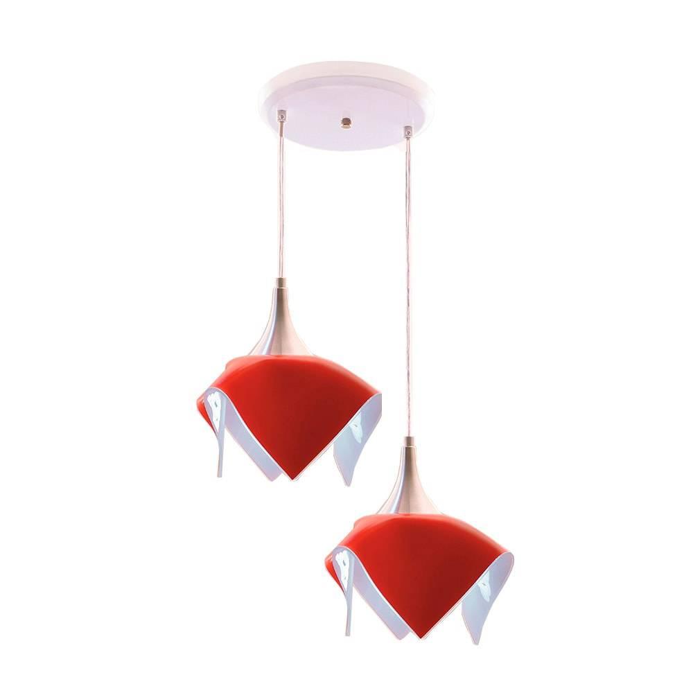 Pendente Tulipa Vermelho - p/ 2 Lâmpadas E27 - em Alumínio e Vidro - 103x31 cm