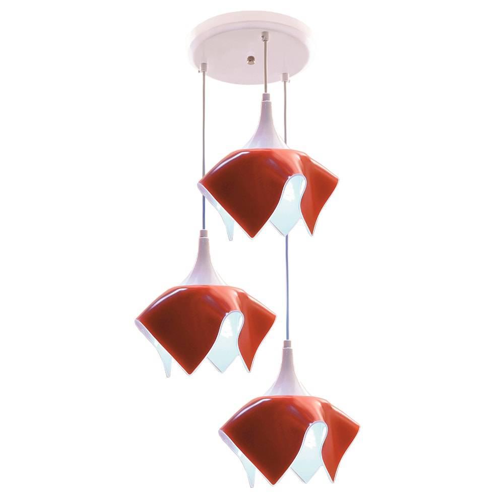 Pendente Tulipa Vermelho - p/ 3 Lâmpadas E27 - em Alumínio e Vidro - 103x38 cm