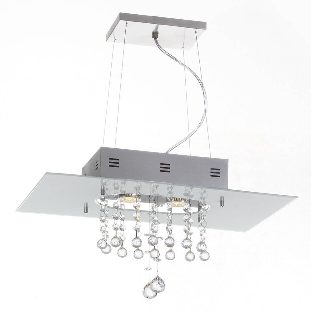 Pendente Valencia Branco - 2 Lâmpadas E27 - em Alumínio e Cristal Importado - 95x50 cm