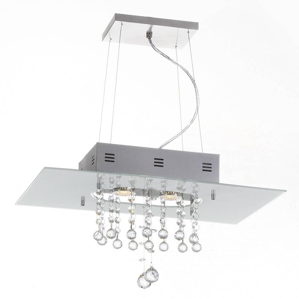 Pendente Valencia Branco - 2 Lâmpadas GU10 - em Alumínio e Cristal Importado - 95x50 cm