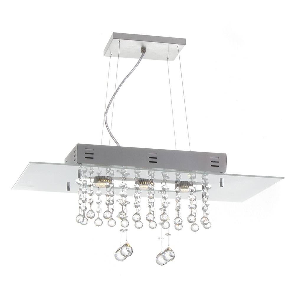 Pendente Valencia Branco - 3 Lâmpadas G9 - em Alumínio e Cristais Importados - 95x60 cm