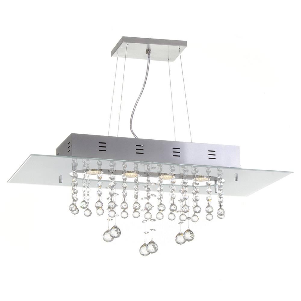Pendente Valência Branco - 4 Lâmpadas GU10 - em Alumínio e Cristal Importado - 95x70 cm